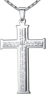 Men's Stainless Steel Large Our Father Lord's Prayer Cross Pendant Necklace, 23