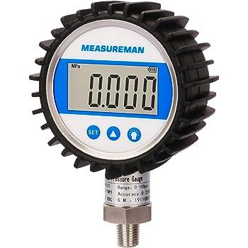 M 1//4 NPT 2.5 Dia 1//4 NPT 2.5 Dia Cole-Parmer Digital Pressure Gauge M 0 to 1000 psi AO-68950-55