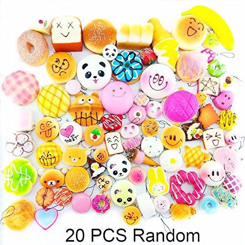 Lelly Q 10/20/30pcs Squishy Food Slow Rising Kawaii Mini Toasts Donuts Bread Panda Phone Key Chain Strap Charm Kids Toy Gift (20pcs)