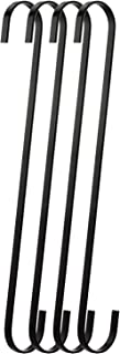 RuiLing 4-Pack 12 Inch Black Chrome Finish Steel Hanging Flat Hooks - S Shaped Hook Heavy-Duty S Hooks, for Kitchenware, Pots, Utensils, Plants, Towels, Gardening Tools, Clothes