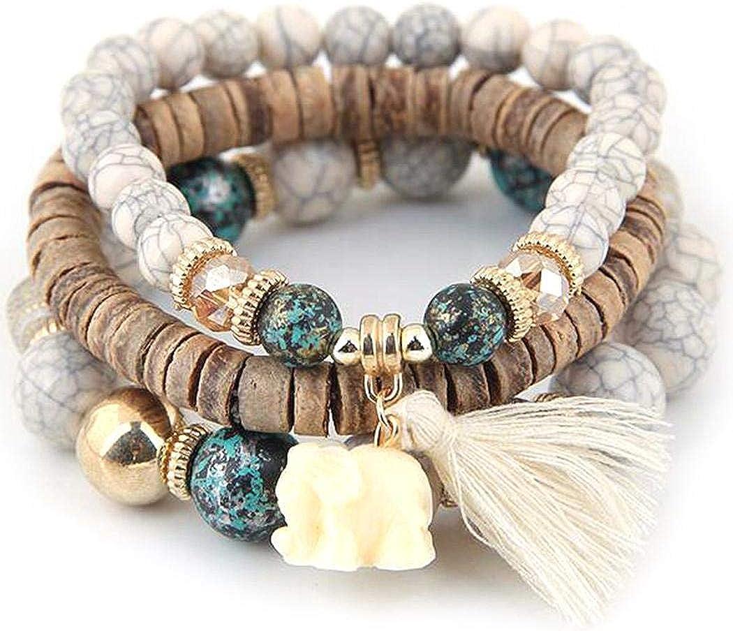 Ethnic Style Tassel Bracelet Bohemian Stretch Wood Beaded Bracelets For Women Boho Bracelet Set Bead Strand Bangle Charm