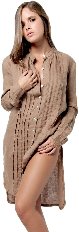 Claudio Milano Women's 100% Linen Pleated Button Down Tunic