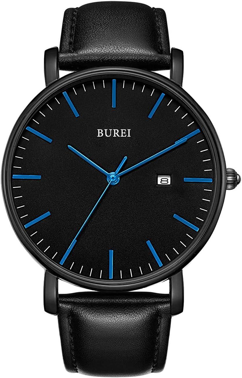 BUREI Men's Watch Ultra Thin Wrist Washington Mall shipfree Date Analog Cale Quartz