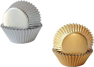 Lot de 200 moules à cupcakes en aluminium pour four ou fête de mariage, anniversaire (argent, or rose)