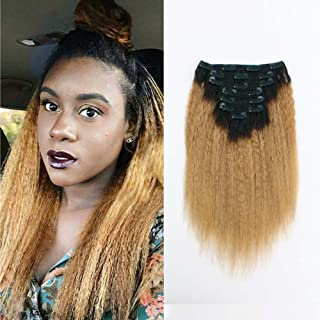 Sassina Human Hair Extensions Yaki Kinki Straight Clip ins 8A Grade 12inch Double Wefts Remy Clip ons Afro Kinky Straight Ombre Natural Black to Honey Blonde 120 Gtams 7 Pieces with 17 Clips Inside