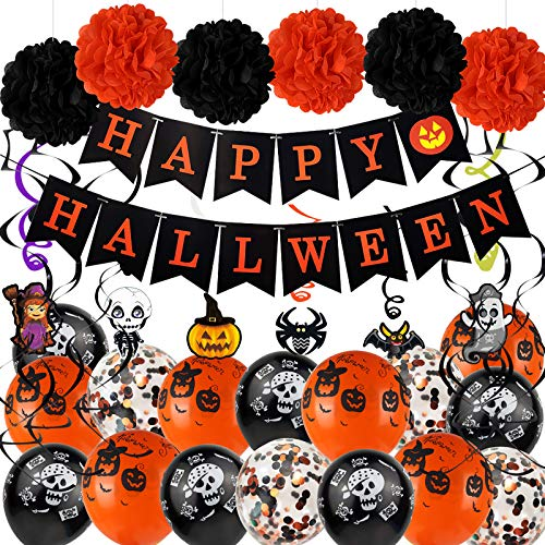 Halloween Party Decorations Kit, Happy Banner, Latex Balloons are Printed with Patterns, Hanging Swirls, Paper Garlands Home Party Halloween Decoration Supplies(48 Pack )