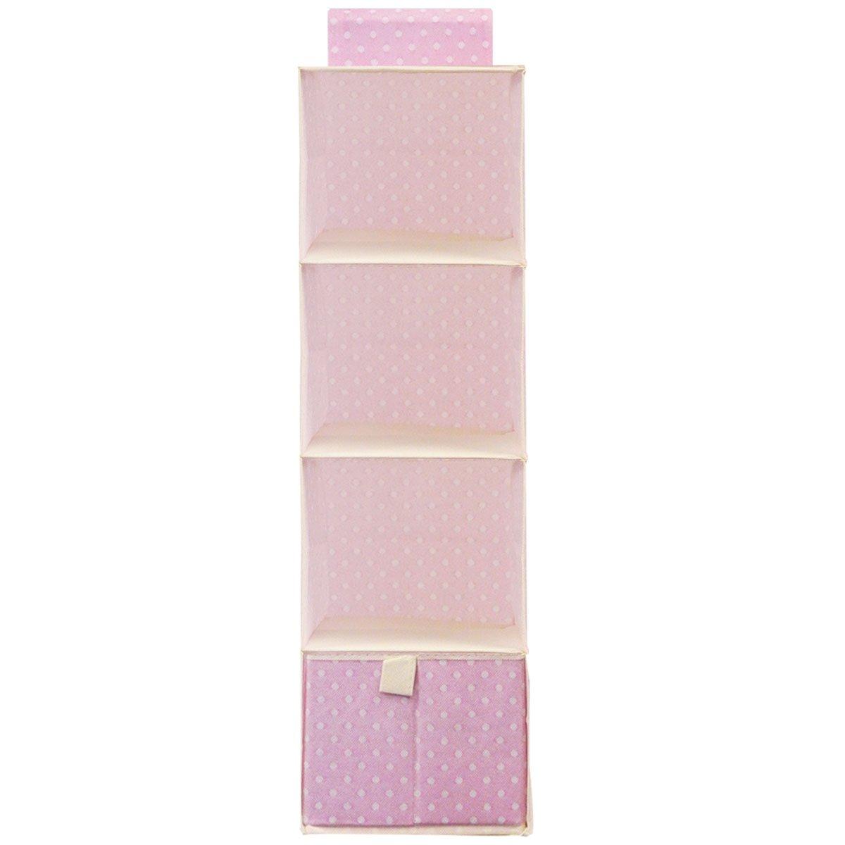 Wrapables 4 Shelf with 1 Drawer Hanging Nursery Closet Organizer, Pink