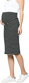 My Bump Women's Comfort Stretch High Waisted Tummy Control Cotton Blend Midi Maternity Pencil Skirt Made in USA