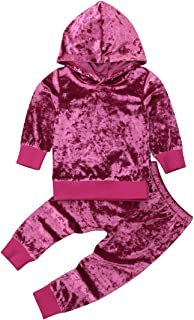 gkouHuih 2PCS Toddler Kids Baby Girl Red Velvet Hoodie Set Warm Winter Outfit Tracksuit Long Sleeve Top+Pants