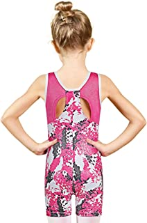 BAOHULU Girls Leotards for Gymnastics with Shorts Tank Biketards Sparkle Painted Athletic Clothes