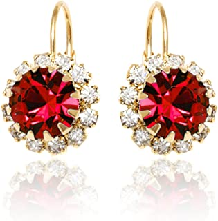 swarovski ruby red earrings