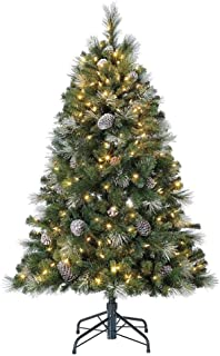 Home Heritage Lincoln 5 Foot Hard Needle Pine Artificial Pre-Lit Christmas Tree with..