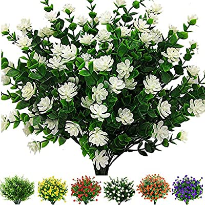 6 Bundles Outdoor Artificial Flowers UV Resistant Fake Boxwood Plants, Faux Plastic Greenery for Indoor Outside Hanging Plants Garden Porch Window Box Home Wedding Farmhouse Decor (Off White)