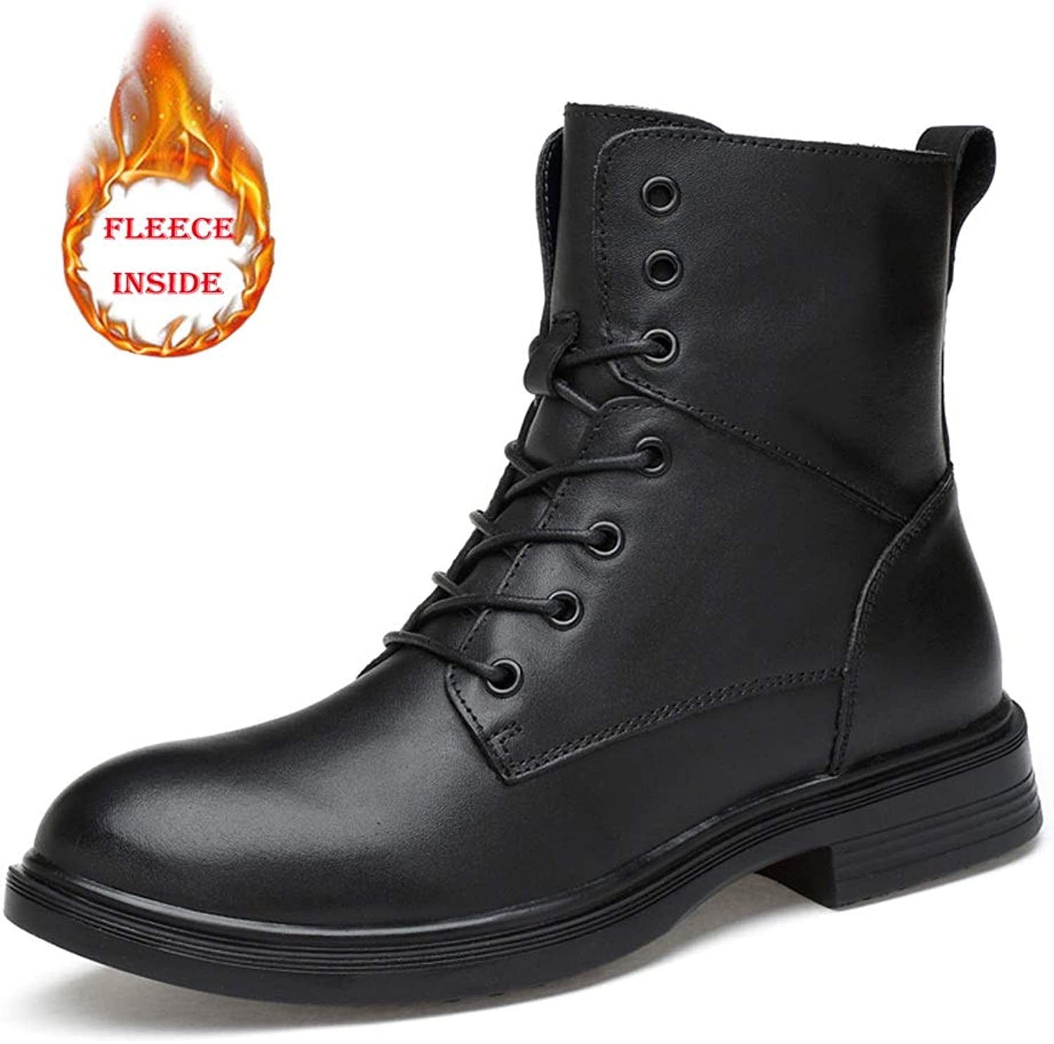 Men's Mid-Calf Boots Casual and Simple Classic High-top Anti-Skid Waterproof Martin Boots