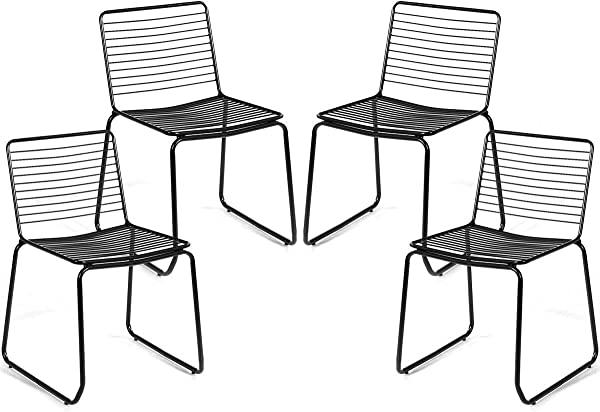COSTWAY Set Of 4 Dining Chair Metal Frame Cafe Chair For Indoor