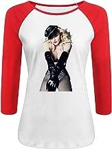Women's Madonna 100% Cotton 3/4 Sleeve Athletic Raglan Sleeves T-Shirt
