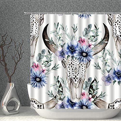 AMNYSF Duschvorhang mit Totenkopf-Motiv, Aquarellfarben, Stierkopf mit floralen Blättern, grün-blau, dekorativer Stoff, Polyester, Badezimmer-Gardinen mit Haken, 178 x 178 cm