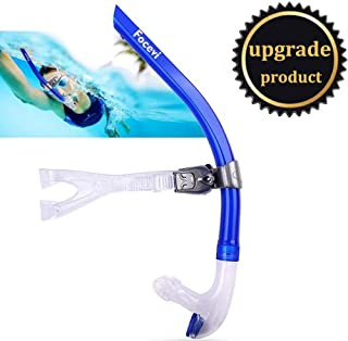 Focevi Swim Snorkel for Lap Swimming, Adult Swimmers Snorkeling Gear for Swimming Snorkel Training in Pool and Open Water, Snorkle Center Mount Silicone Mouthpiece One-Way Purge Valve