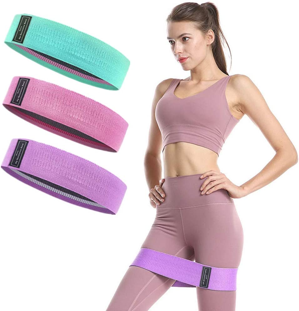 QH Exercise Resistance Bands,Workout Bands for Legs and Butt,Indoor Training Anti-Slip Booty Bands,Set of 3