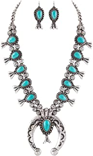 Jayde N' Grey Turquoise Squash Blossom Navajo Bohemian Womens Southwestern Statement Choker Necklace & Earrings Bundle: Set & Jewelry Bag