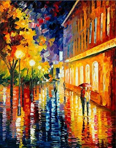 YWOHP Arte de Pared Pop Moderno Pareja romántica día lluvioso Escena de la Calle Cartel Lienzo Pintura para decoración de Sala de Estar Pintura 20X30cm_Unframed_DM469-6