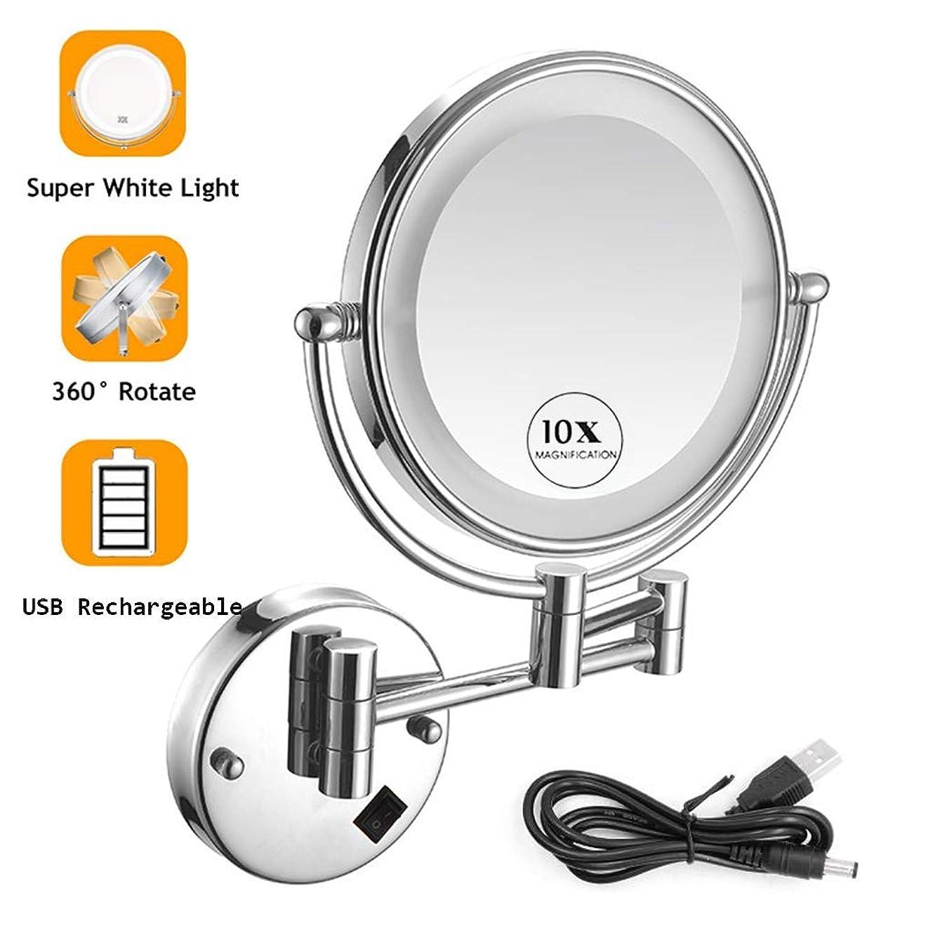 多分視力避難する壁掛け化粧鏡クローム、バスルーム壁掛け化粧鏡、10X拡大鏡、8インチ両面360度;?スイベル12インチ拡張、USB充電式