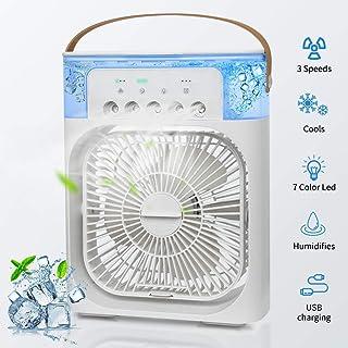 AEE LIFV Mini Enfriador de Aire, Mini Acondicionador de Aire Móvil ,7 Color Des Luz,5 Sprays,Tiempo de 1/2/3H,Regulación de la Velocidad del Viento