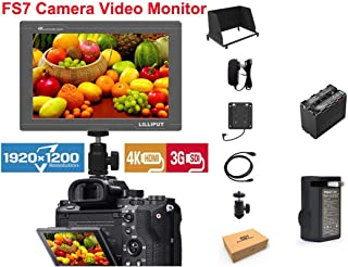LILLIPUT FS7 7 inch Full HD 1920x1200 4K HDMI 3G-SDI in Out On Camera Field Display Monitor for DSLR Camera Camcorder Photograper + Pisen F970 Battery and Charger by Official VIVITEQ
