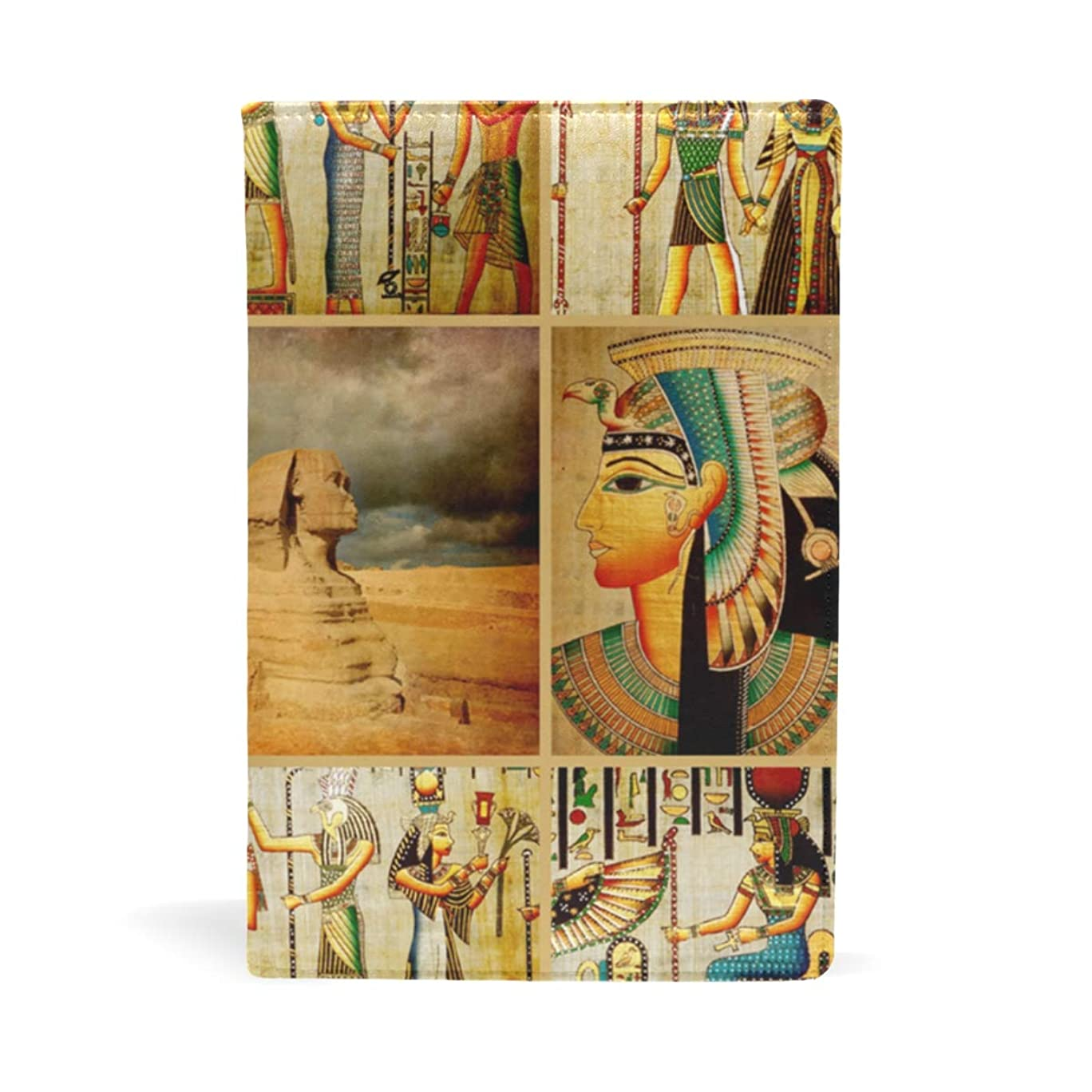 墓部優遇古代エジプトのファラオとピラミッドスフィンクス ブックカバー 文庫 a5 皮革 おしゃれ 文庫本カバー 資料 収納入れ オフィス用品 読書 雑貨 プレゼント耐久性に優れ