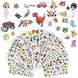 Vicloon Pegatinas para Niños 1000+3D Puffy Pegatinas, 38 Hojas Pegatinas Infantiles para Gratificantes Regalos Scrapbooking Que Incluye Animales, Dinosaurios, Chica de Vestir y Más (38 Hojas)