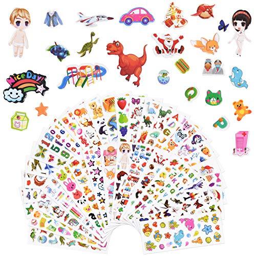Vicloon 3D Aufkleber für Kinder 38 Blatt, 3D Sticker 1000+ Geschwollene Aufkleber, Including Alphabet Aufkleber, Fruchtaufkleber, Tieraufkleber, Einhorn Aufkleber, Christmas Sticker und Mehr