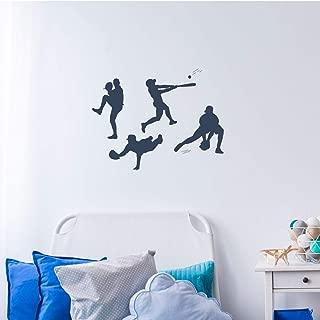 Baseball Player Vinyl Wall Decal | Pitching, Catching, Fielding, Batting | Boys' Room Decor Stickers | Team Gift Idea