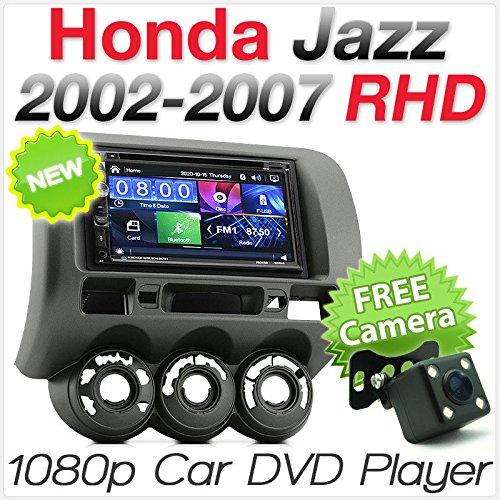 TUNEZ® Autoradio double DIN avec lecteur DVD, CD, MP3 et MP4 - 17,8 cm - Compatible avec Honda Jazz Fit (1ère génération, châssis GD) - Année 2002-2007 - Radio stéréo avec conduite à droite à droite