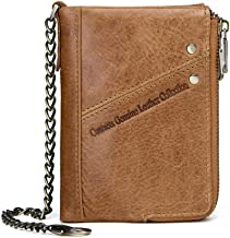 C-Xka Casual Leather Men's Wallet FRID Anti-theft Brush Multi-function Double Zipper Top Layer Leather Coin Purse With Chain