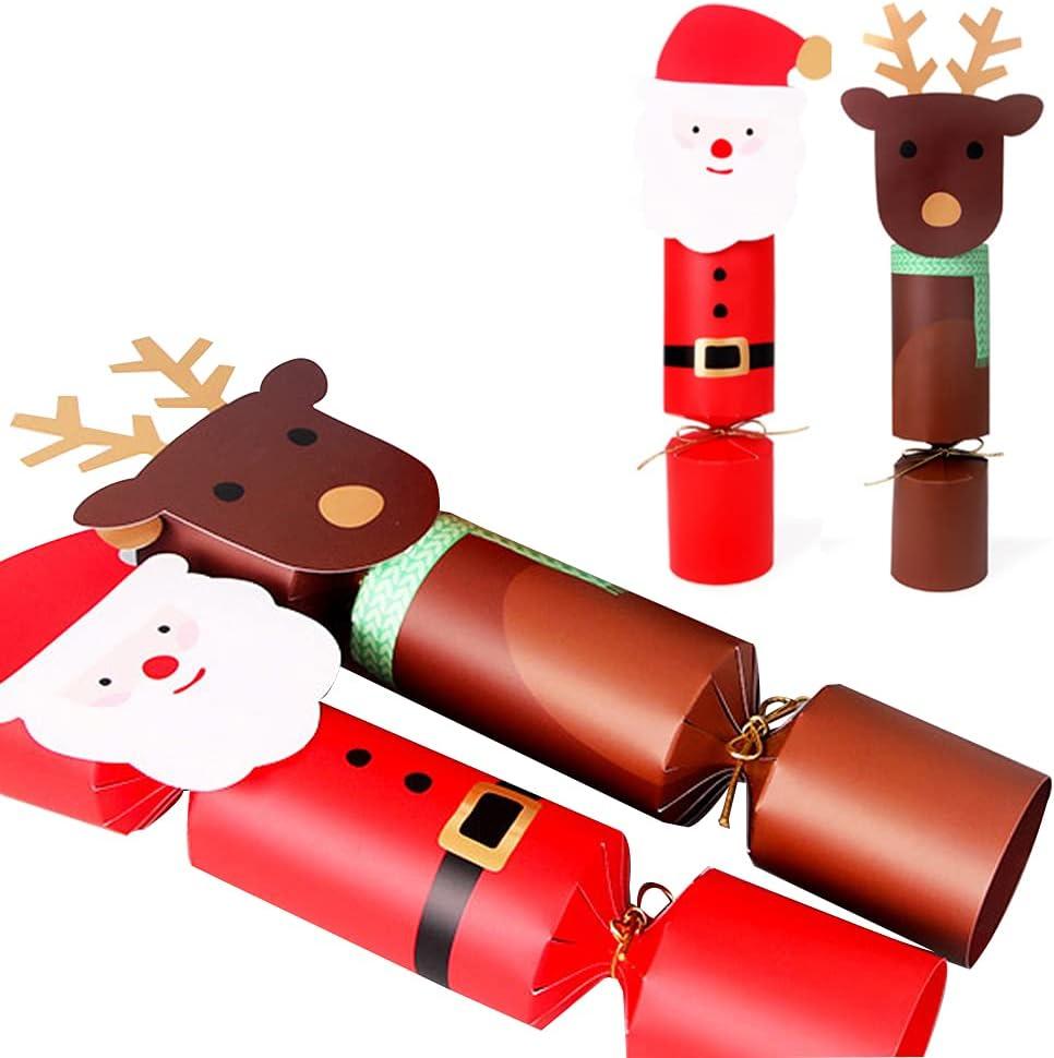 QOCO Christmas Crackers, Paquete de 20 Galletas Navideñas para Llenar, Regalo Familiar de Navidad, Galletas Navideñas para Niños, Papá Noel Y Alce Navideño, Galletas Navideñas Elegantes