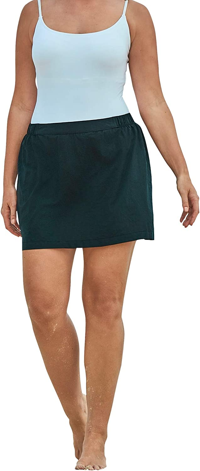 Swimsuits For All Women's Plus Size Taslon Coverup Skirt with Built-in Brief Swimsuit Bottoms