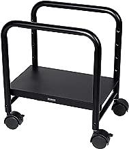 EUREKA ERGONOMIC Computer Cart Height Adjustable Mobile Cart CPU Stand Steel Rolling Stand Cart Holder Locking Wheels for Home Desk Office Desk Black