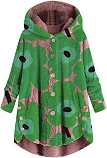 Dainzuy Women Coats Plus Size,Fashion Printing Button Coat Fluffy Hooded Pullover Loose Sweater Blouse Parka Outwear