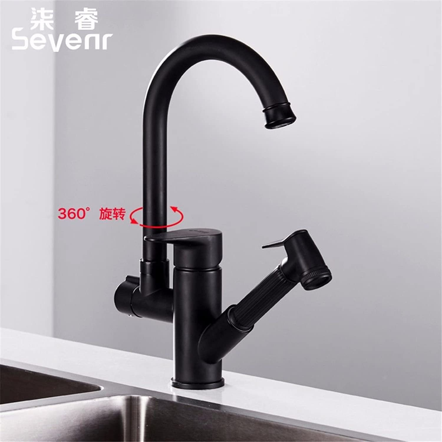 Bijjaladeva Antique Kitchen Sink Mixer Tap Kitchen Faucet hot and Cold wash The Fish pots of The Spill-Resistant 304 Stainless Steel Household Water taps Turn Black