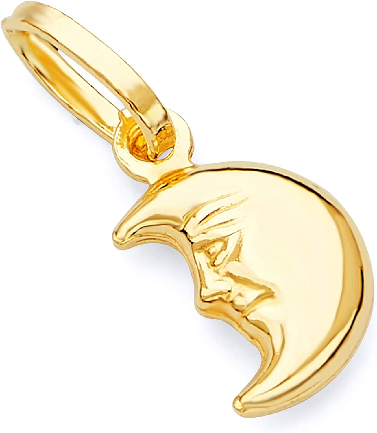 GoldenMine Max 86% OFF Bargain sale Fine Jewelry Collection 14k Moon Half Yellow Fac Gold