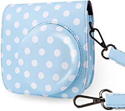 Wolven Protective Case Bag Purse Compatible with The Fugifilm Mini 9, Mini 8, Mini 8+ Camera, Blue Polka Dots