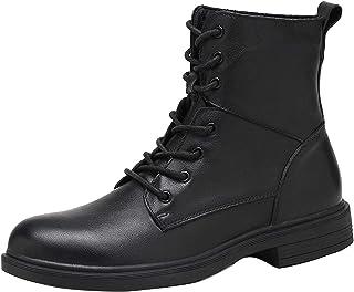 shoe Bottes en Cuir Noir pour Hommes Bottes Punk Classiques à Lacets, Bottes de Moto de Moto de Loisirs antidérapantes en ...
