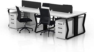TOPREGAL - Scrivania Michaela per 4 Persone, con Protezione per la Privacy, con 4 sedie da Ufficio Elisa