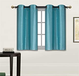 Elegant Home 2 Panels Tiers Grommets Small Window Treatment Curtain Faux Silk Insulated..