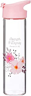 Christian Art Gifts Strength and Dignity 20 oz Wide Mouth BPA-Free Reusable Glass Water Bottle Hydration Flip-Top Lid in P...