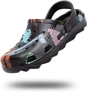 Womens Clogs Lightweight Garden Shoes for Men Summer Slippers Unisex Sandals Adjustable Non-Slip Classic Yard Black Blue B...
