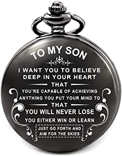 Mens Gifts for Birthday Valentines Day Graduation Fathers Day Christmas, Engraved Pocket Watch Roman Numeral