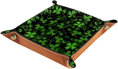 Trefoil Clover Leather Tray Dice Box Bedside Tray Key Watches and Candy Holder Sundries Entryway Tray,20.5x20.5cm