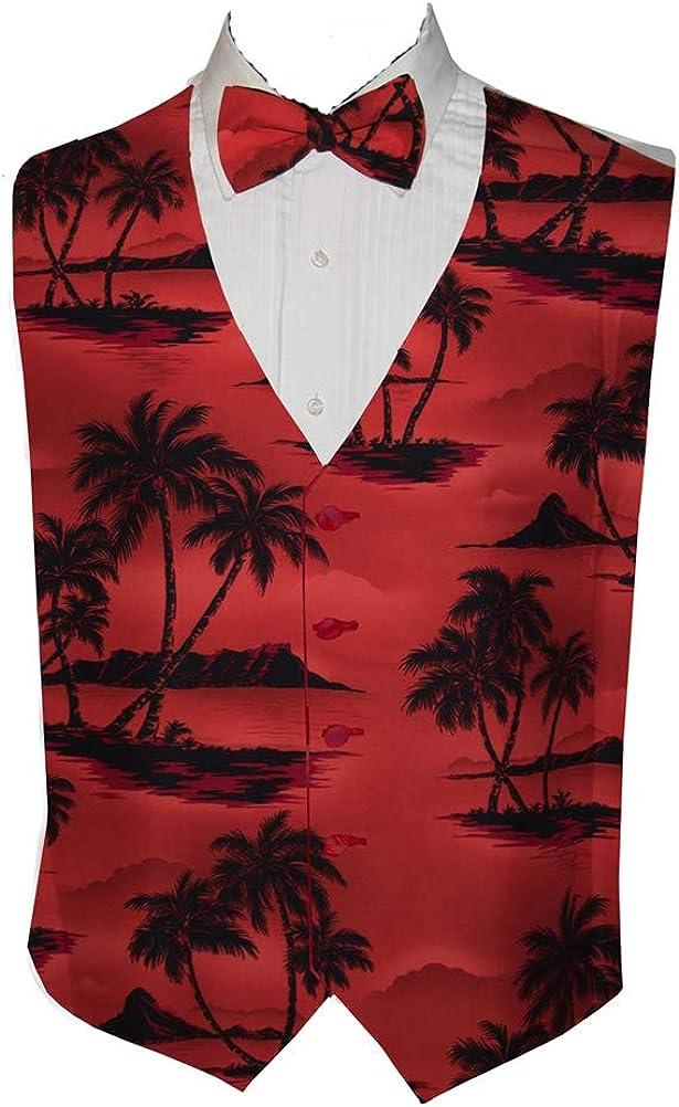 Red Tradewinds Tropical Island Tuxedo Vest and Tie (Medium Long)