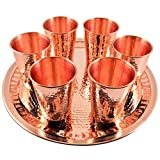 6 X CopperBull Thickest Heaviest Hammered 1 mm Copper Tumbler Cup Mug Set with TRAY for Water Moscow Mule Ayurvedic Healing,14 Oz (Copper)